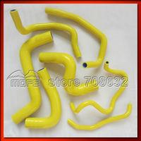 7PCS Original Logo Coolant Heater Water Radiator Silicone Hose Kit For Toyota Yaris 1NZFE1.5 2006~ Yellow