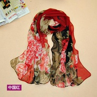 Wholesale 6 colors 160*50cm 2014 new Big red flower fashion chiffon scarf print autumn summer Super silk scarves shawl women aw5