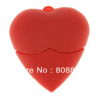 Loving Heart Shaped USB Flash Drive Rubber 4GB 8GB 16GB 32GB 64GB Free Shipping