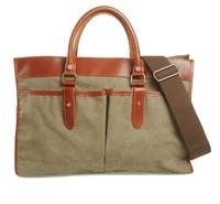 New arrival fashion vintage casual canvas man bag genuine leather handbag business shoulder bag briefcase men women's handbag