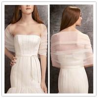 J0048New Arrival Elegant Chiffon Half Sleeve White Bolero Jacket Wrap Wedding Accessory 2014 Free Shipping