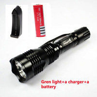 Hunting Flashlight UniqueFire HS-802 Green Light 250 Lumens LED Lantern+ A Charger+A 3000mah Battery