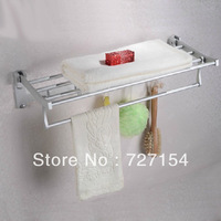 Concise Folding Double Tier Bathroom Commodity Shelf Wall Mounted Space Aluminum Towel Rack
