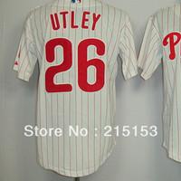 American Philadephia Jerseys Utley Embroidery logos #26 Chase Utley Men's Baseball Jerseys Mix Order Free Shipping