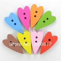 Free Shipping 100 Pcs Random Mixed Love Heart 2 Holes Sewing Wood Buttons Scrapbooking 18x17mm Knopf Bouton(W02833 X 1)