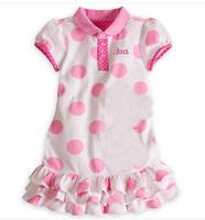2014 short sleeve pink big dot  staci  Lapel Single-breasted cartoon summer girls dress  tcq 007 - 1 x