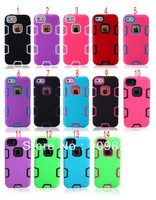 PC&Silicon Combo 3 IN 1 Case For Apple iphone 5 5S ,10pcs/lot Free Shipping
