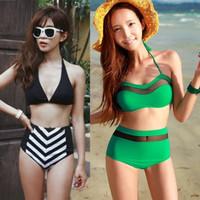 Free shipping 2014Hot sale New vintage high waisted swimwear,navy style bikini set,seven colours split swimsuit for women choose