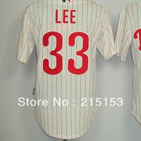 American Philadephia Baseball Jerseys Lee Embroidery logos #33 Cliff Lee Men Baseball Jerseys Mix Order Free Shipping