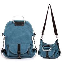 Free shipping Autumn women's multifunctional canvas handbag all-match backpack messenger bag student bag xqw278