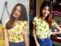Women Sexy Close Fitting Crop top Cotton Graphic Short Slim Short-sleeve Fashion Sunflower Print Flower T shirt 2013 Womans New