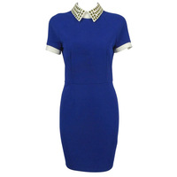 F 21 rivet turn-down collar elegant short-sleeve slim hip navy blue dress one-piece dres