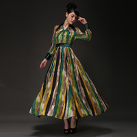 2014 new spring autumn women's chiffon one-piece long dress stripe ultra long slim long-sleeve expansion dress p2