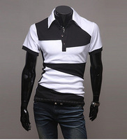 3PCS 20%OFF,Free Shipping Black and white personality color matching new irregular short-sleeved POLO male short-sleeved PL2004