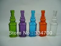 """6.5""""H glass bottle vase in 5 color asst.  USD38.40 for 12pcs/each USD3.20/pc"""