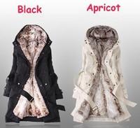 Hot Sale 2014!Faux fur lining women's winter warm long fur Hooded coat  Sent From Russia