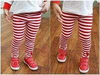 Free shipping 5pcs/lot girls red black white striped legging kids mickey stripe leggings Children pants
