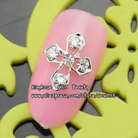 RH955 new 3D nail art bow alloy nail decorations 50pcs luxury nail jewelry for full nail tip glitter rhinestones free ship
