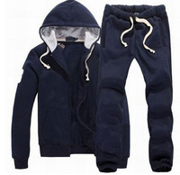 Casual Full Zipper Polo Tracksuits for Men Slim Fit Hooded Cotton Solid Jogging Sweatshirts Polo Jackets Pants Size S-XXL