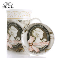 Fashion classic bone china gift vintage office glass mug ceramic cups with lids spoon with lid