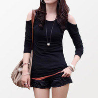 The new 2014 Ladies blouse sexy women's T-shirt. Round neck shoulder cultivate one's morality render unlined upper garment