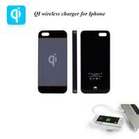 Free shipping Black Fashion QI wireless charger wireless charging case wireless charging receiver for apple mobile phone I5