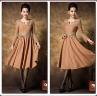 2014 Spring Autumn&Winter Excellent Quality, European Style Top Grade Woolen lace Slim Ladies Dress, Womens Woolen dress