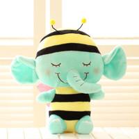 Free shipping 20cm angel wing green elephant plush animal doll cushion hold pillow girl creative birthday gift stuffed toy 2pc
