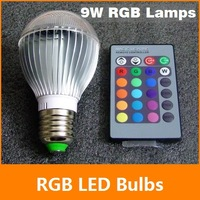 [ E27 RGB LED Lamp ] 9W AC85-265V led Bulb Lamp with Remote Control multiple colour led lighting free shipping