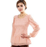 M-4XL 3 Colors New Spring Summer Flower Lace Long Lantern Sleeve Tunics Chiffon Tops Blouse Brand Ruffled Elegant Peplum Blouses