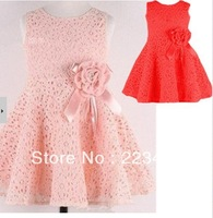 NEW 2014 Summer girl dress,lace, bow princess dress, sleeveless fashion, elegant dress for girl, pink, Free Shipping