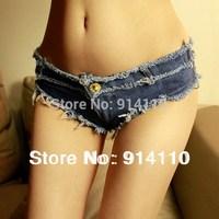 New Fashion European&US Sexy Skinny Nightclub Jeans/ Low-Waistline Cosplay Super Shorts Free Shipping S M L SizeS LD-P1022