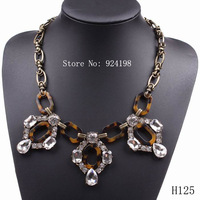 Minimum Order $10 new fashion spring elegant leopard print crystal chain statement necklace 2014 for women free shipping