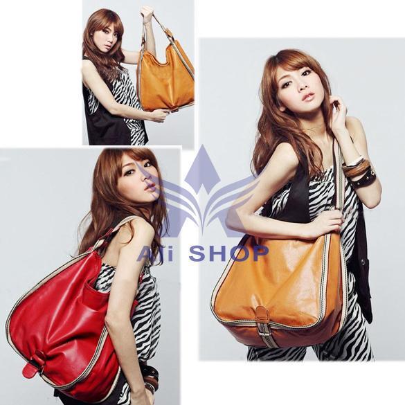 2015 Brand New Fashion Girls' Leisure Big PU Leather Charming Handbags Women Casual Shoulder Bags Red Camel Free Shipping 5603(China (Mainland))