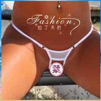 Women Mesh Hollow Out Open Crotch Sexy G-String -Lady Fashion See Through Micro Bikini Thong Panties Swimwear Underwear Lingerie