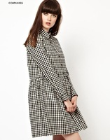 2014 new arrival plaid  cotton material above knee thin regular sleeve winter casual dress maxi dresses