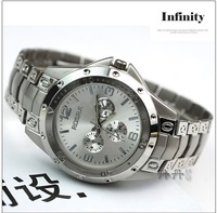 10pcs/lot Free shipping 2014 new fashion men watch Three ring steel belt watches  Wristwatches 4 colors