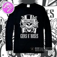 Hard classic skull cranium guns n roses 100% cotton long-sleeve T-shirt basic shirt  DIY personalized free shipping