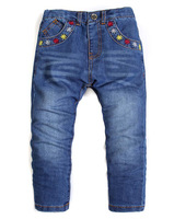 2014 new Children's girls embroidered jeans pants baby Leisure trousers 2/3. 3/4. 4/5. 5/6. 7/8. 9/10