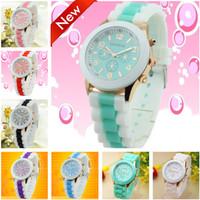 2014 New Fashion Geneva Watch Unisex Quartz Watch Women Dress Watches Analog Wristwatches Silicone Ladies Sports watches