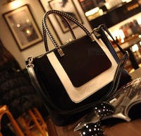 2014 sweet black and white fashion one shoulder handbag fashion women's cross-body bag