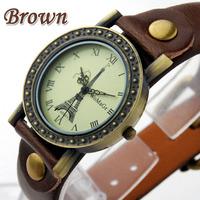 Paris Eiffel Tower pattern design] Quartz Watch Leather Young Sports Women Vintage Watches Casual Rhinestone Clock Ladies Dress