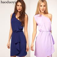 Free Shipping Beautiful one shoulder waist asymmetrical skirt one-piece dress ABS  Hot item