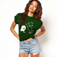 Free Shipping Small fresh print Army Green o-neck short-sleeve t-shirt female ABS  Hot item