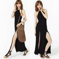 Free Shipping Breeches black racerback long design ABS dress one-piece dress  Hot item