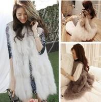 Chic Lady Faux Fur Vest Winter Warm Coat Outwear Long Hair Jacket Waistcoat Tops Drop shipping KR168