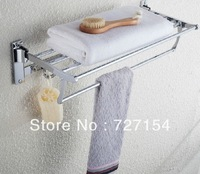 Modern  Bathroom Storage Shelf With Towel Bar And Hooks Chrome Finish Towel Rack