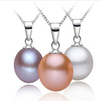 2014 NEW!9-10mm freshwater pearls necklace pendant +925 pure silver chain Jewelry wholesale,water drop style