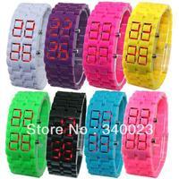 Hot sale! 1pc New Great  Lava Samurai Plastic LED Girl's Women's Wrist watch, 8 colors, LN6