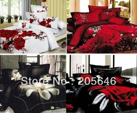 4pcs 4styles white red  black flower 3d luxury unique oil painting  bedding set  bedclothes  Duvet cover sets bedsheet